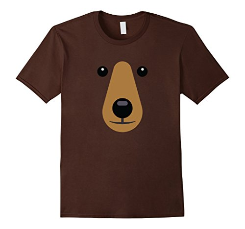 Mens Bear Face Cute T shirt Easy Halloween Costume Kids Adults Large (Cute Easy Halloween Costumes For Adults)