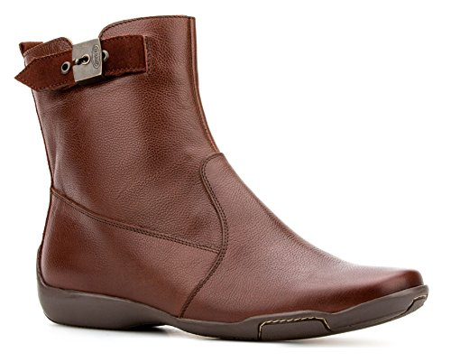 Dr. Scholl's Comfort Women Shoes Gel Cushion Genuine Leather Brown Flat Ankle Boot (7.5)