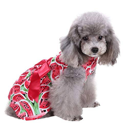 Jim-Hugh Dog Dress Pet Clothes Floral Bow Princess Small Clothes Puppy Doggy Vest Summer Costume Roupas para Cachorro