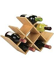 mDesign - Flessenrek - keukenorganizer/wijnrek - voor water- en wijnflessen - voor aanrecht, voorraadkast, koelkast, keuken - bamboe/modern/geometrisch design/vrijstaand/geschikt voor 8 flessen/milieuvriendelijk - natuurlijke lichte houtskleur