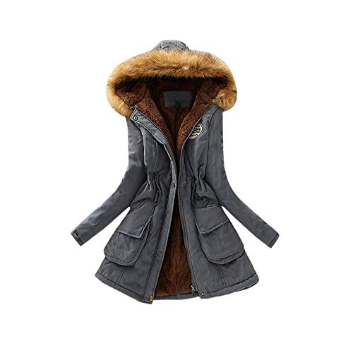 (Realdo Women Coat Inner Plush, Women Fur Collar Hooded Jacket Slim Winter Parka)