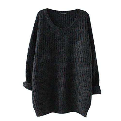 YouPue Mujeres Suéter Jerseys Redondo Cuello Pullover Casual Largo De La Manga Suelto Sección Delgada Blusa Suéter Jerseys Prendas Para Señoras Color Opcional Negro