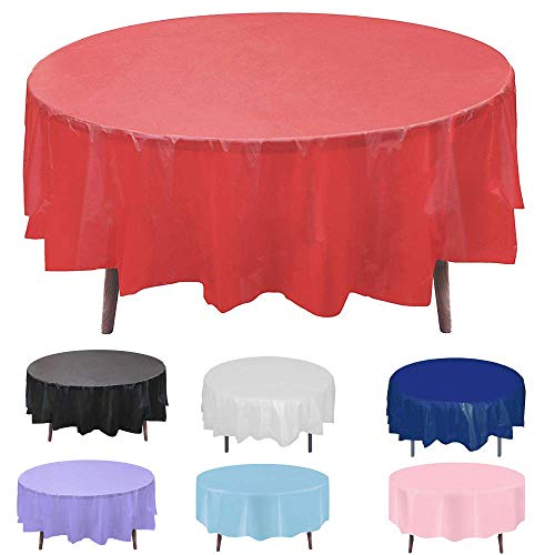 - Round Plastic Disposable Tablecloth Table Cloth Cover Protector for Wedding Birthday Party Easter Holiday Banquet Event Supplies Picnic Cover Spillproof Waterproof 84 Inch 12 Pack Red Color72 60 Inch