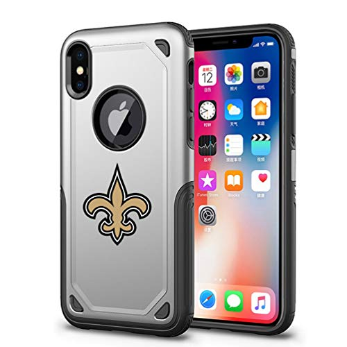 Cell Saints (Saints iPhone X Xs Case Cover Hybrid Armor Tough Shell Air Cushion Technology Secure Grip Drop Protection Compatible iPhone X Xs Silver 5.8