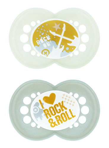MAM Pacifiers, Baby Pacifier 6+ Months, Best Pacifier for Breastfed Babies, 'Rock And Roll' Design Collection, Unisex, 2-Count (Rock On Pacifier)