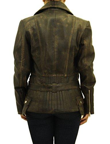 Se–oras frotar apagado/vendimia de cuero Elegante acolchados de largo ce–ido militar vendimia retro Biker abrigo