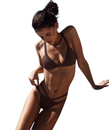 FLEAP Triangle Bra Bikinis Brazilian Bandage Bottoms Halter Bathing Suit 2 Pcs Swimsuit,Brown - Bikini Brown Womens