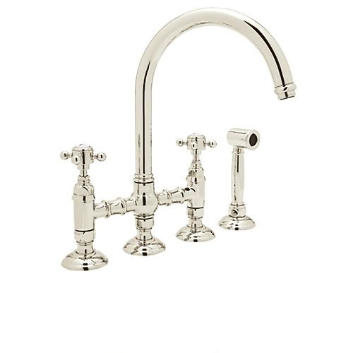 Rohl A1461XMWSPN-2 Country Kitchen High-Arc Bridge Faucet with Side Spray, Polished (Arc Bridge)