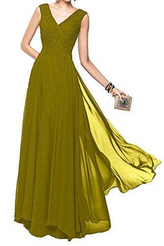 La_Marie Braut Damen Elegant V-ausschnitt Lang Abendkleider Brautjungfernkleider Formal Tanzenkleider Olive Gruen AgW4T3Fh4