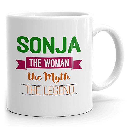 Personalized Sonja Mug - The Woman The Myth The Legend - Gifts for Women, Wife, Mom, Girlfriend - 11oz White Mug - Green