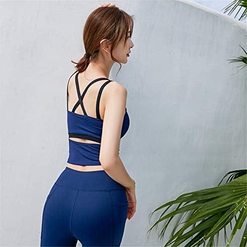 レディースジャージ上下セット 女性2ピース衣装レギンススポーツヨガセットロングパンツトラックスーツ (Color : Blue, Size : S)