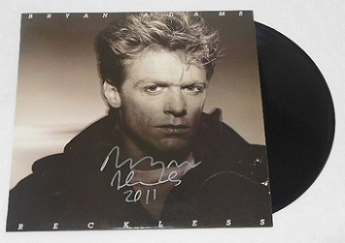 Autographed Record - Bryan Adams Reckless Hand Signed Autographed Lp Record Album with Vinyl Loa