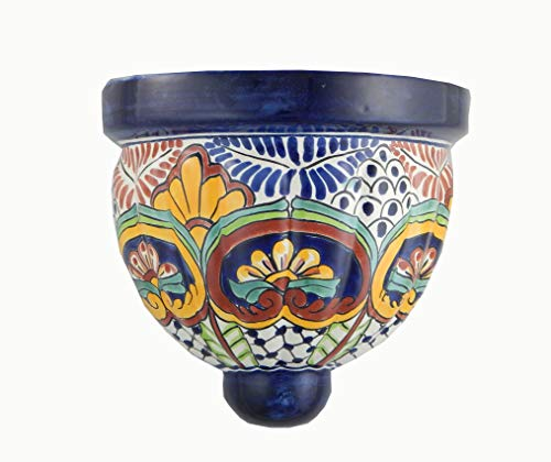 (Mexican Talavera Wall Planter Handmade Hand Painted Pottery Planter Wall Hanging Sconce Planter Small # 17)