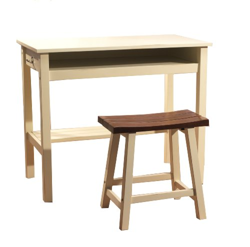 TMS 2-Piece Madison Study Set, White/Oak