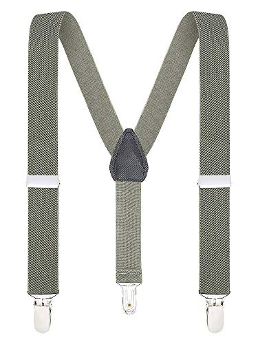 Buyless Fashion Suspenders for Kids and Baby Adjustable Elastic Solid Color 1 inch - 5102-Charcoal-Gray-30