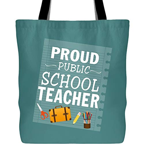 I Am A Teacher Bags with Long & Durable Handles, Proud Public School Teacher Tote Bag for Shopping (Tote Bags - Green Pistachio) -