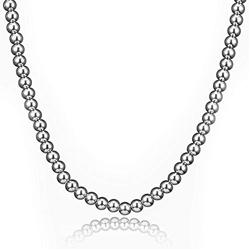 (Jewelry Kingdom 1 Necklace and Bracelets for Women, Bead Chain Sterling Silver Stainless Steel, Handmade Jewelry, 6-8MM Diameter and 7-40