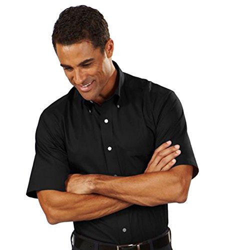 Button Down Stain Resistant Dress Shirt (Van Heusen Men's Short Sleeve Wrinkle-Resistant Oxford Button Down Dress Shirt Black Medium)