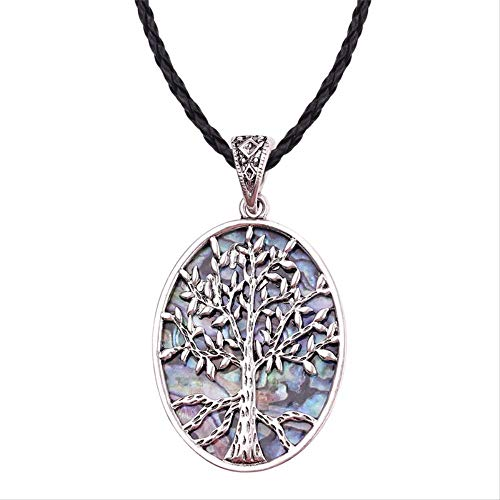 ACCTSY Luxury Colorful Natural Abalone Shell Wire Wrapped Tree of Life Pendant Necklace Retro Style Necklace