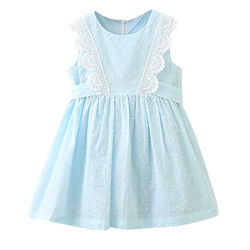 (KLFGJ Kids Little Girls Dress, Lace Sleeveless Party Cute Clothes Princess Dress for Kids Who 2-8 Yrs(Light Blue,3T))