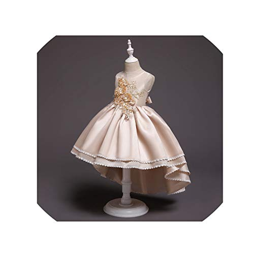 Summer Kids Dresses for Girls Wedding Dress Elegant Sleeveless Girls Clothes Formal Princess Evening Party Toddler Dress,Champagne1,8