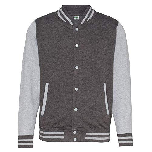 unisex varsity jacket m charcoal heather grey