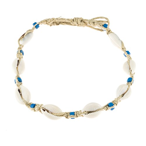 with Cowrie Shells and Turquoise Blue Fimo Beads (Cowrie Shell Necklace Choker)