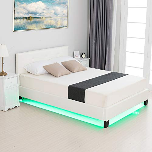 LAGRIMA Modern Upholstered Faux Leather Platform Bed with LED Light with 2.8-Inch Solid Wooden Slat Support, White, Full Size