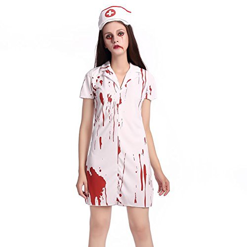 [PIZZ ANNU Halloween Girl Horror Bloody Ghost Adult Cosplay Nurse Costume White (L, White)] (Bloody Nurse Costume)