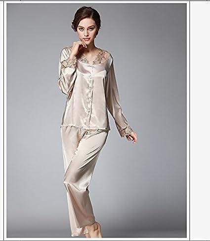 Syksdy Primavera Otoño Mujer Pajama Establece 2018 Faux Señoras De Seda 2 Pcs Pantalones Pijama Sedoso