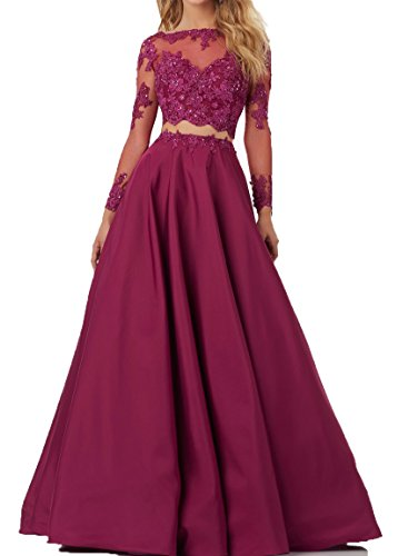 Lace Bodice Dress (BessDress Two pieces Lace Bodice Beads Prom Dresses Long Sleeves Evening Party)