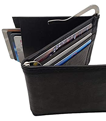 AG Wallets Men's Cowhide Trifold/Bifold Double Money Clip Wallet (Z Money Clip)Bk
