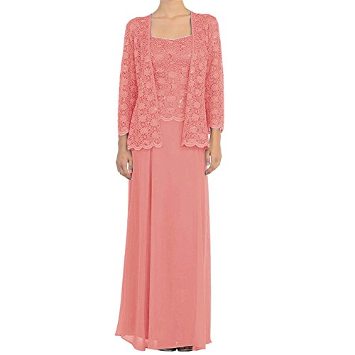 H S D Mother Of The Bride Dress Chiffon Long Formal Gowns With Jacket Coral 22W