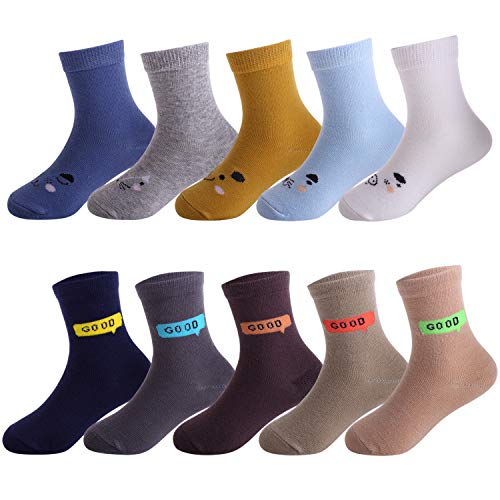 10 Packs Girls Socks Colorful Cotton Crew Socks for 5-6 Years