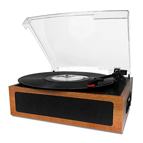 LP&No.1 Vintage Vinyl Record Player with Stereo Speaker,3 Speed Turntable Light Brown (Record Player Brown)