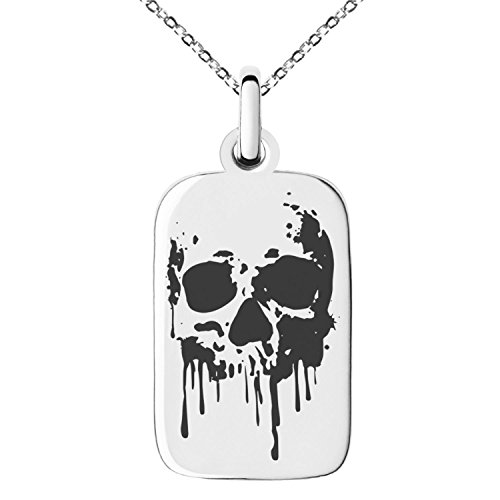 Stainless Steel Hades Greek God of Underworld Symbol Engraved Small Rectangle Dog Tag Charm Pendant Necklace