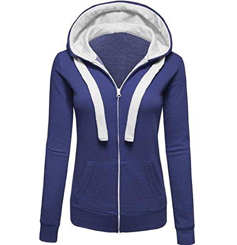 費やす湿気の多いかすれたNicellyer Women Collision Color Zipper Vogue Long-Sleeved Hooded Outwear