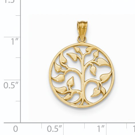 ICE CARATS 14k Yellow Gold Cut Out Tree Of Life Round Pendant Charm Necklace Inspiration Outdoor Nature Fine Jewelry Gift Set For Women Heart by ICE CARATS (Image #3)