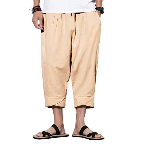 - INVACHI Mens Casual Elastic Waist Linen Capri Wide Leg Baggy Harem Pants Trousers