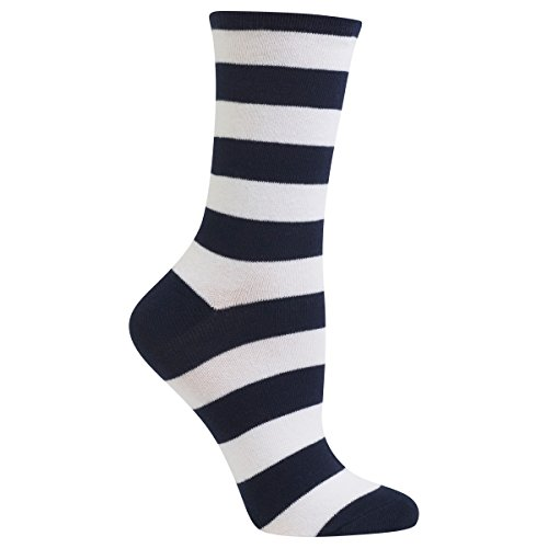 Hot Sox Women's Originals Fashion Crew Socks, College Rugby Stripe (Navy/White) Shoe Size: 4-10 (Navy Rugby Womens)
