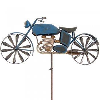 CIM Metall Windrad - Motorcycle Blue - Wetterfest, mit Antik-Effekt - Windräder: Ø14cm, Motiv: 49x25cm, Gesamthöhe: 160cm - inkl. Standstab (Blue) Colours in Motion