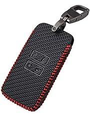 Happyit Koolstofvezel Stijl Lederen Autosleutel Cover Gevallen sleutelhanger voor Renault koleos Kadjar 4 Knoppen Keyless Afstandsbediening