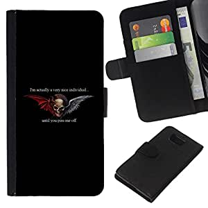 All Phone Most Case / Oferta Especial Cáscara Funda de cuero Monedero Cubierta de proteccion Caso / Wallet Case for Samsung ALPHA G850 // Hell Biker Gang Black Wings Devil