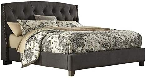 Amazon Com Ashley Furniture Kasidon Tufted Fabric Upholstered King Bed In Gray Kitchen Amp Dining