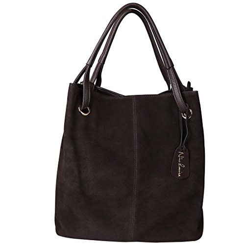 Nico Louise Women Real Split Suede Leather Tote Purse New Leisure Large Top-handle Bags Lady Casual Crossbody Shoulder Handbag (Deep (Suede Leather Hobo)