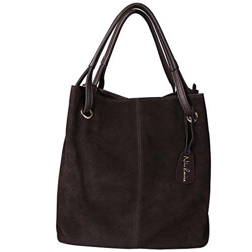 Nico Louise Women Real Split Suede Leather Tote Purse New Leisure Large Top-handle Bags Lady Casual Crossbody Shoulder Handbag (Deep Coffee)