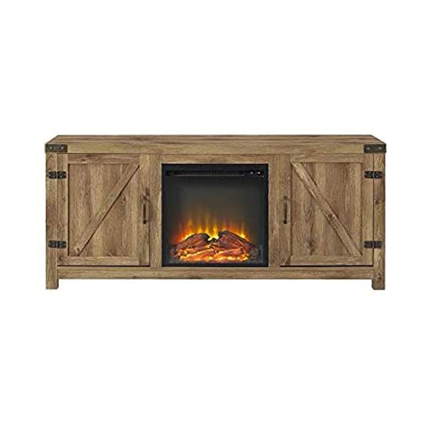Home Accent Furnishings Tucker 58 Inch Barn Door Fireplace Television Stand in Rustic Oak
