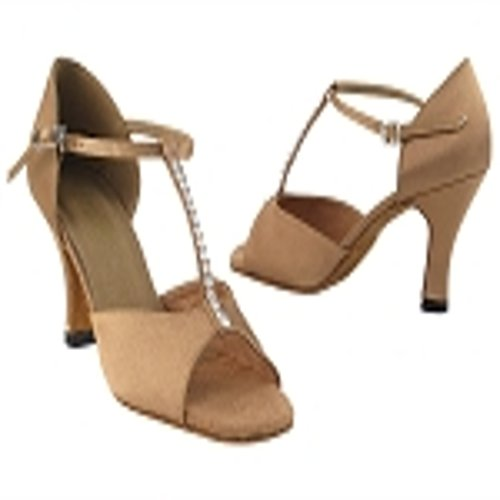 Very Fine Girls Tan Satin Latin Dance Shoe 1609 in size 4 girls with 2.5 inch heel by Very Fine Dance Shoes
