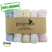 Baby Muslin Washcloths and Towels - 100% Organic Natural Cotton Baby Wipes - Premium Extra Soft Newborn Baby Face Towels for sensitive skin – Baby Registry as Shower Gift 5 Pack