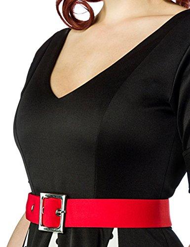 amp; schwarz Kleid Ärmeln Godet Kleid kurzen Retro weiß mit V Ausschnitt rot mit Manschetten Fw7Hxdqz
